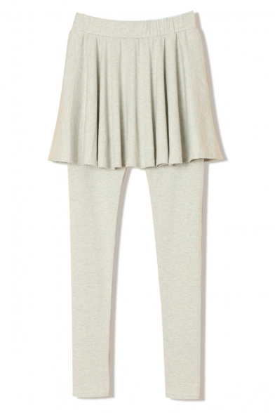 A-Line Skirt with Ruffle Hem Panel Plain Leggings