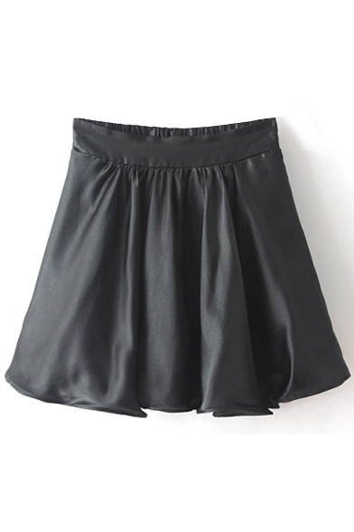 Black Pleated Ruffle Hem Elastic Waist Skirt