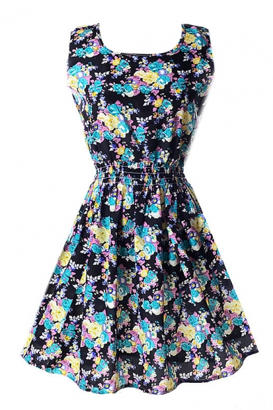Black Sleeveless Blue&Yellow Flora Print Dress