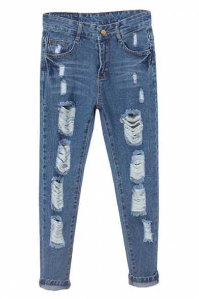 Dark Wash High Waist Ripped Loose Jeans