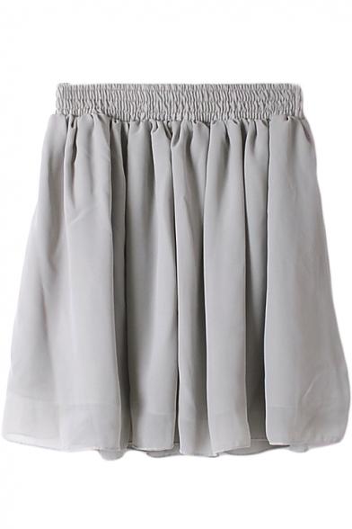 Gray Plain Elastic Waist Chiffon Skirt