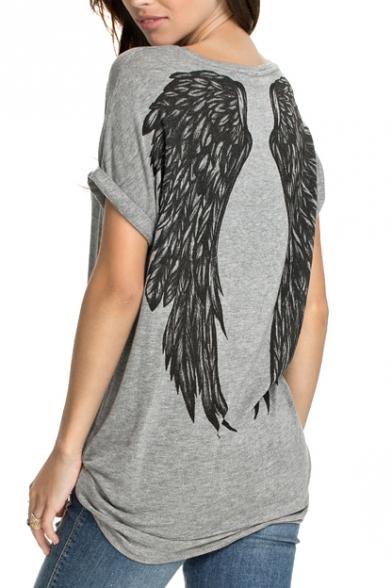 Gray Short Sleeve Wing Print Back Tunic T-Shirt