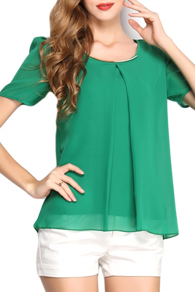 Short Sleeve Pleated Round Neck Chiffon Blouse
