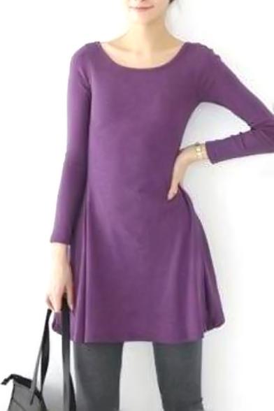 Purple Slim Concise A-line Mini Dress
