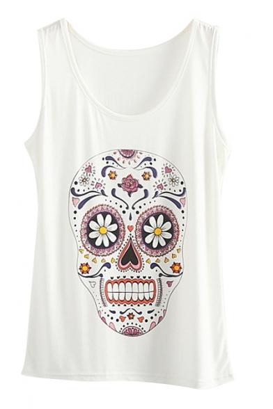 White Round Neck Skull Floral Print Tank