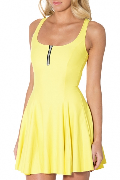 Zip Front Plain A-line Tank Pleated Dress