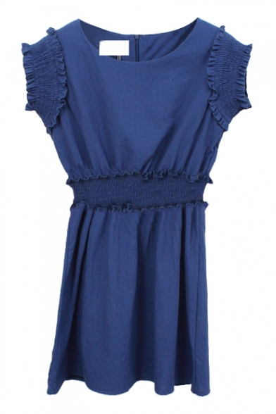 Dark Blue Sleeveless Scalloped Cuff A-line Mini Dress