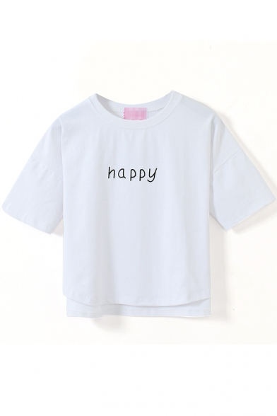 White Short Sleeve Happy Print Crop T-Shirt