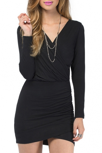 V-Neck Wrap Long Sleeve Dress
