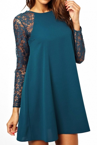 Lace Insert Round Neck Long Sleeve Chiffon Dress - Beautifulhalo.com