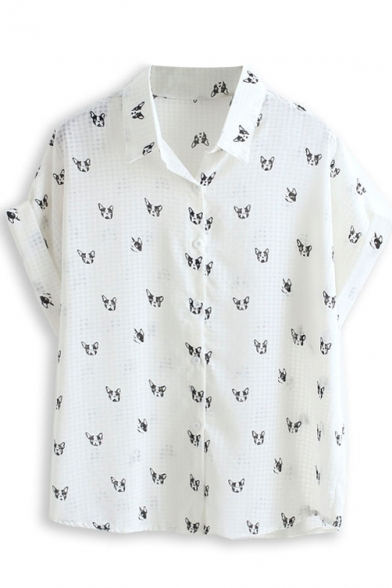 Little Dog Print Short Sleeve Chiffon Shirt