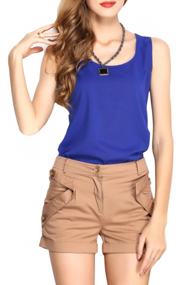 Plain Scoop Neck  Slim Chiffon Tanks