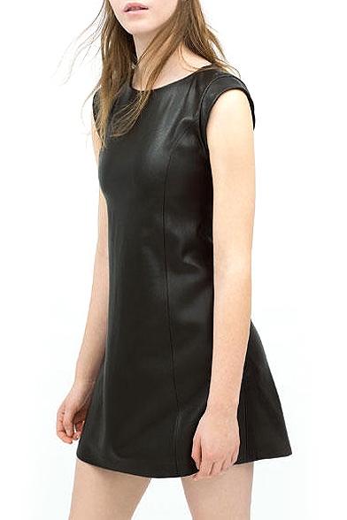 Black Plain PU Sleeveless Round Neck Dress