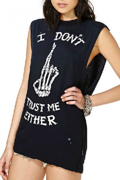 Black Round Neck I Don't Trust Me Either Print Tunic Tank