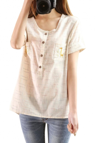 Cream Short Sleeve Double Pockets Giraffe Embroidered Button Fly Blouse