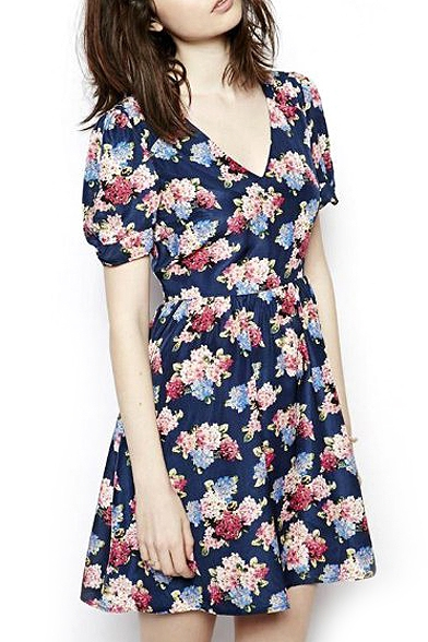 6af71783bf Floral Print Navy V-Neck Short Sleeve Skater Dress - Beautifulhalo.com