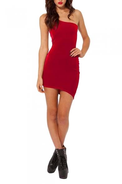 One-Shoulder Style Slim Plain Velvet Bodycon Dress