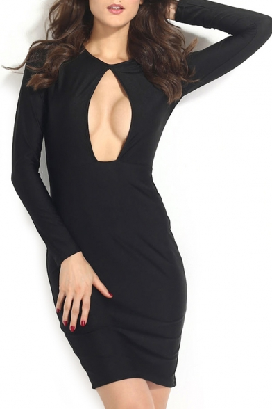 Plain Black Cutout Front Long Sleeve Round Neck Dress