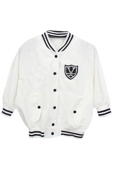 White 3/4 Sleeve Micky Back Print Crop Baseball Jacket ...