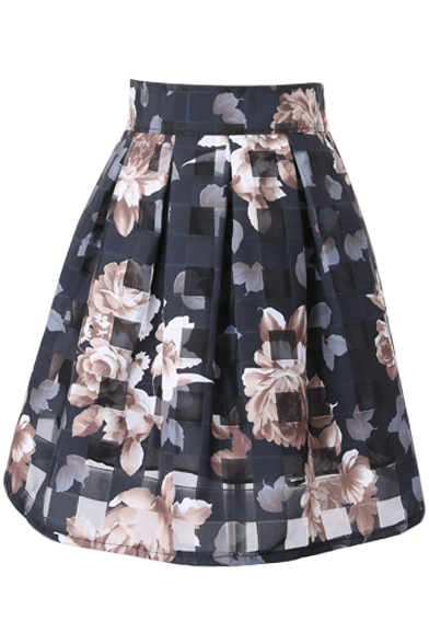 Checker&Apricot Flower Organza Pleated Skirt