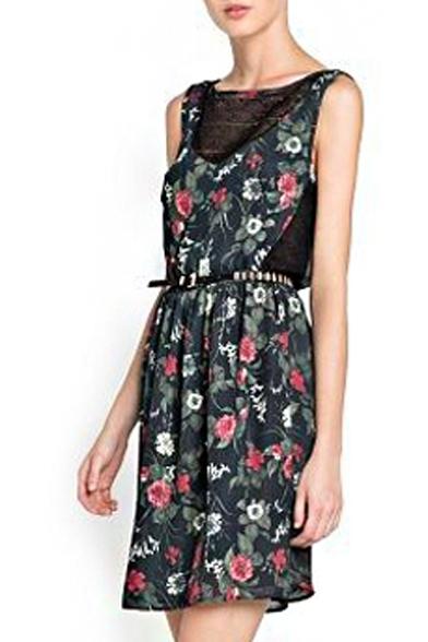 Sleeveless Chiffon&Lace Panel Flower Print V-Back Dress