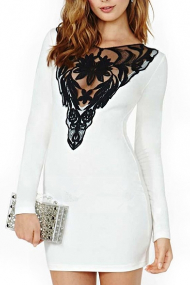 White Lace Long Sleeve Keyhole Back Dress