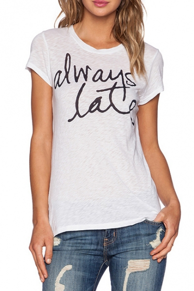 White Short Sleeve Always Late Print T-Shirt