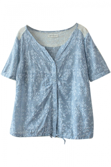 Blue Stripe Button Embellish Lace Insert Roll Cuff Blouse