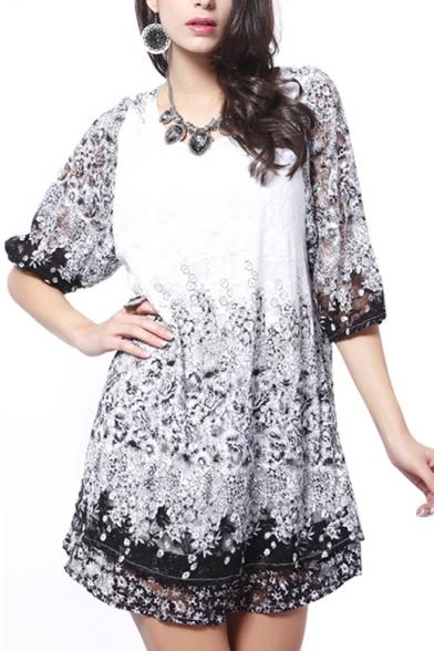 1/2 Sleeve Mono Flower Lace Insert Min Column Dress