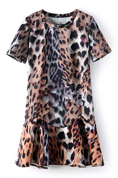 Leopard Print Short Sleeve Ruffled Dress