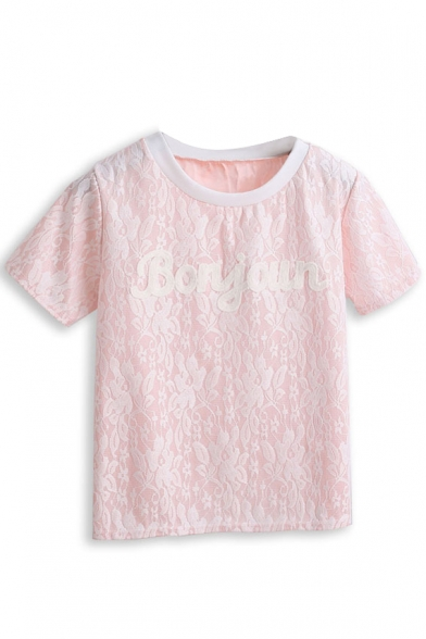 Embroidered Cutout Floral Letter T-Shirt