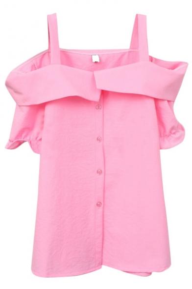 Pink Off-the-Shoulder Short Sleeve Slip Shirt
