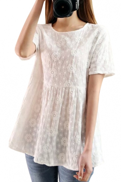 White Short Sleeve Flora Embroidered Swing Blouse