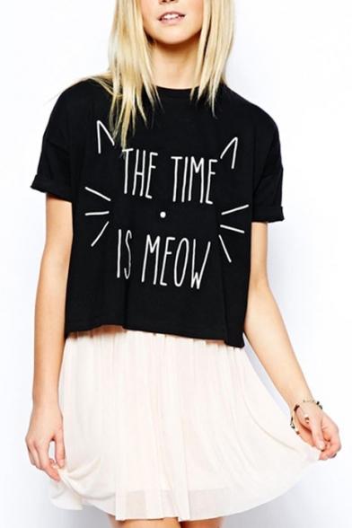 Black Short Sleeve Cat Face Letter Print T-Shirt