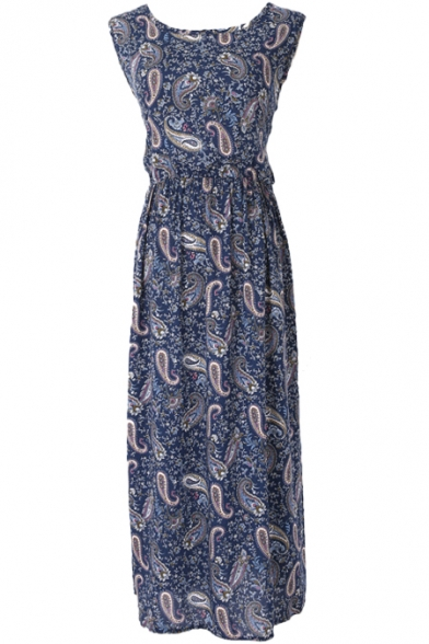Dark Blue Background Flora&Pattern Longline Tanks Dress