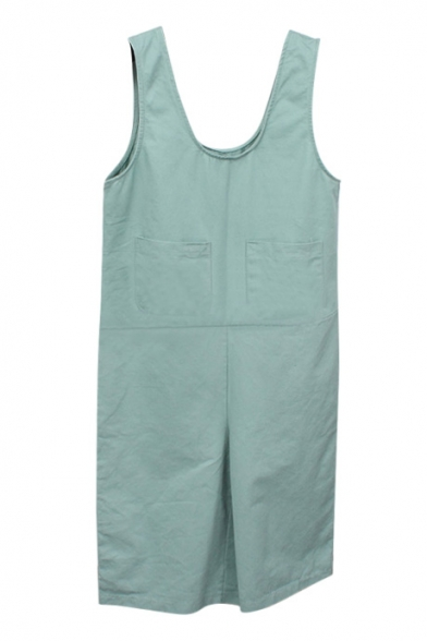Light Green Simple Double Pockets Front Sleeveless Rompers