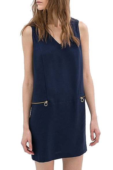 Navy Plain Zipper Detail V-Neck Tank Dress