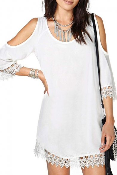 White Cold Shoulder 3/4 Sleeve Lace Trim Dress