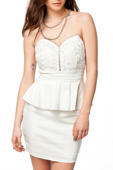 50c524c6d050 White Strapless Crochet Peplum Dress with Zipper Details - Beautifulhalo.com