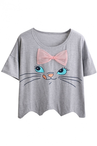 Cat with Bow Scalloped Hem T-Shirt