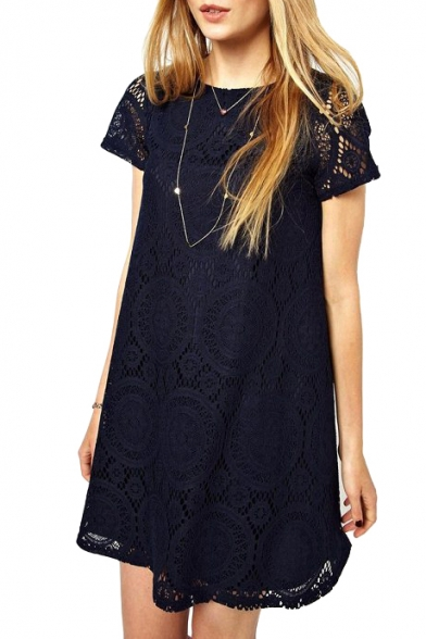 Short Sleeve Kaleidoscopic Lace Cutwork Swing Dress