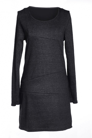 Gray Long Sleeve Round Neck Fitted Dress