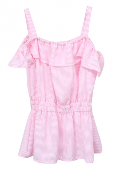 bee32b54332 Pink Vertical Stripe Ruffle Layer Off-the-Shoulder Straps Blouse -  Beautifulhalo.com