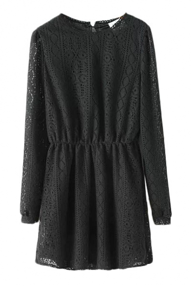 Plain Cutout Style Lace Long Sleeve Dress with Elastic Waist