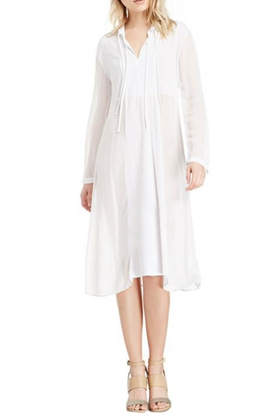 f802bbbb2fee White Plain Sheer V-Neck Long Sleeve Chiffon Midi Dress - Beautifulhalo.com