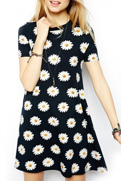 Chrysanthemum Print Short Sleeve Ruffle Hem Dress