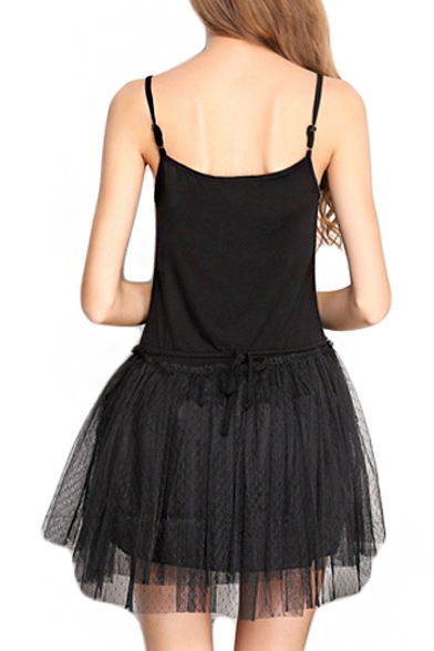 Star Embellish Black Modal&Mesh Panel Mini A-line Slip Dress