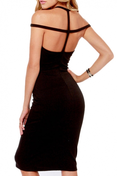 Sexy Lattice Neck Strappy Back Bodycon Dress