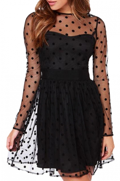 Sexy Polka Dot Illusion Mesh Cover Black Sweetheart Neck A-line Dress