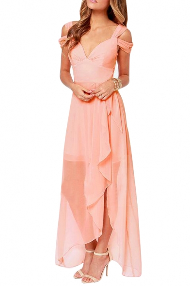 Cold Shoulder V Neck Style Double Layer Chiffon Asymmetric Hem Dress Beautifulhalo Com